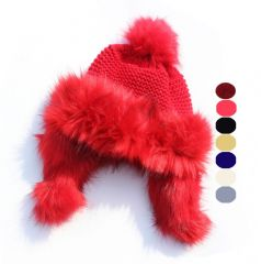 HT6818 Girls faux Fur knitted beanie hat girls thermal knit fur beanie hat with ears flaps